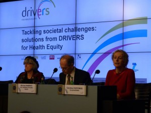 DRIVERS Final Conference 3rd February 2015 - Julie Ward - MEP; Sir Michael Marmot - UCL Institute of Health Equity; Caroline Costongs - EuroHealthNet Managing Director